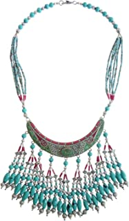 Tibetan Silver Long Choker Necklace for Women Silver Plated Handmade Vintage Fashion Jewelry Ethnic Tribal Gypsy Designer Buddhist Bohemian Necklace Coral Turquoise Gemstone Party Jewelry