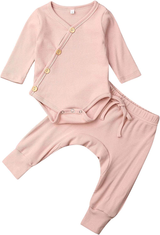 Newborn Baby Girl Boy Clothe Set Solid Long Sleeve Cotton Button Bodysuits Romper+2PCS Infant Pant Set Outfits