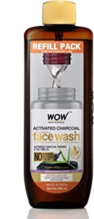 WOW Skin Science Activated Charcoal Foaming Face Wash Refill Pack - Lifts Off Pollutant & Dirt - For Extended Use - No Par...