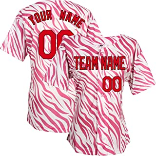 63a0e7f8c6a Custom Baseball Jerseys for Women Girls Embroidered Any Name and Numbers -  Pink Zebra Pattern Jersey