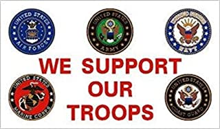Americas & Americas 3x5 flag We Support Our Troops Branches