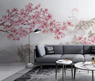Murwall Floral Wallpaper Cherry Blossom Wall Mural Landscape Wall Art Chinese Home Decor Asiatic Cafe Design Natural Wall Pictures