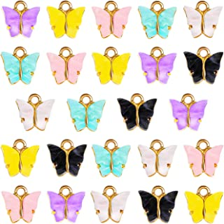 24 colgantes de mariposa de acrílico, colorido y bonito colgante de mariposa de acrílico para joyas, collares, pulseras, p...