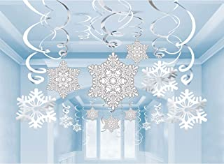 Moon Boat 40Ct Christmas Snowflake Hanging Swirl Decorations - Winter Wonderland/Xmas/Holiday Party Supplies
