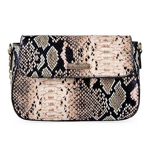 0de0d0c980f Goodbag Boutique Women PU Leather Handbag Sloped Snakeskin Pattern Shoulder  Bag Cross-body Satchel Purse