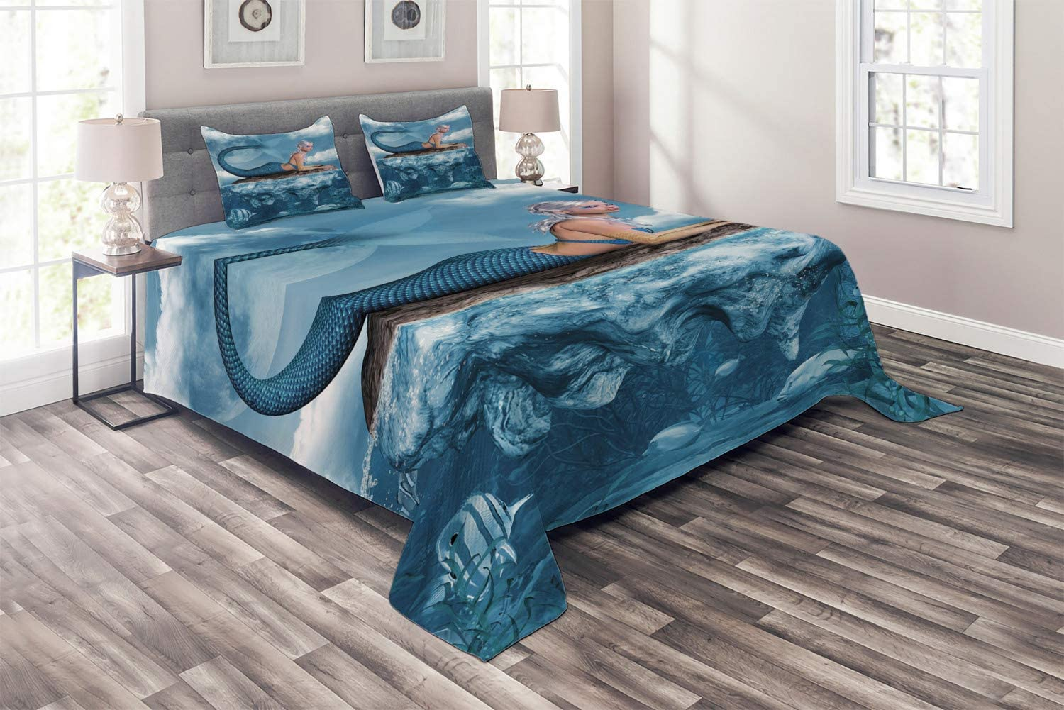 Ambesonne Mermaid Coverlet Graphic Max 90% OFF Courier shipping free shipping Art Print a of Girl