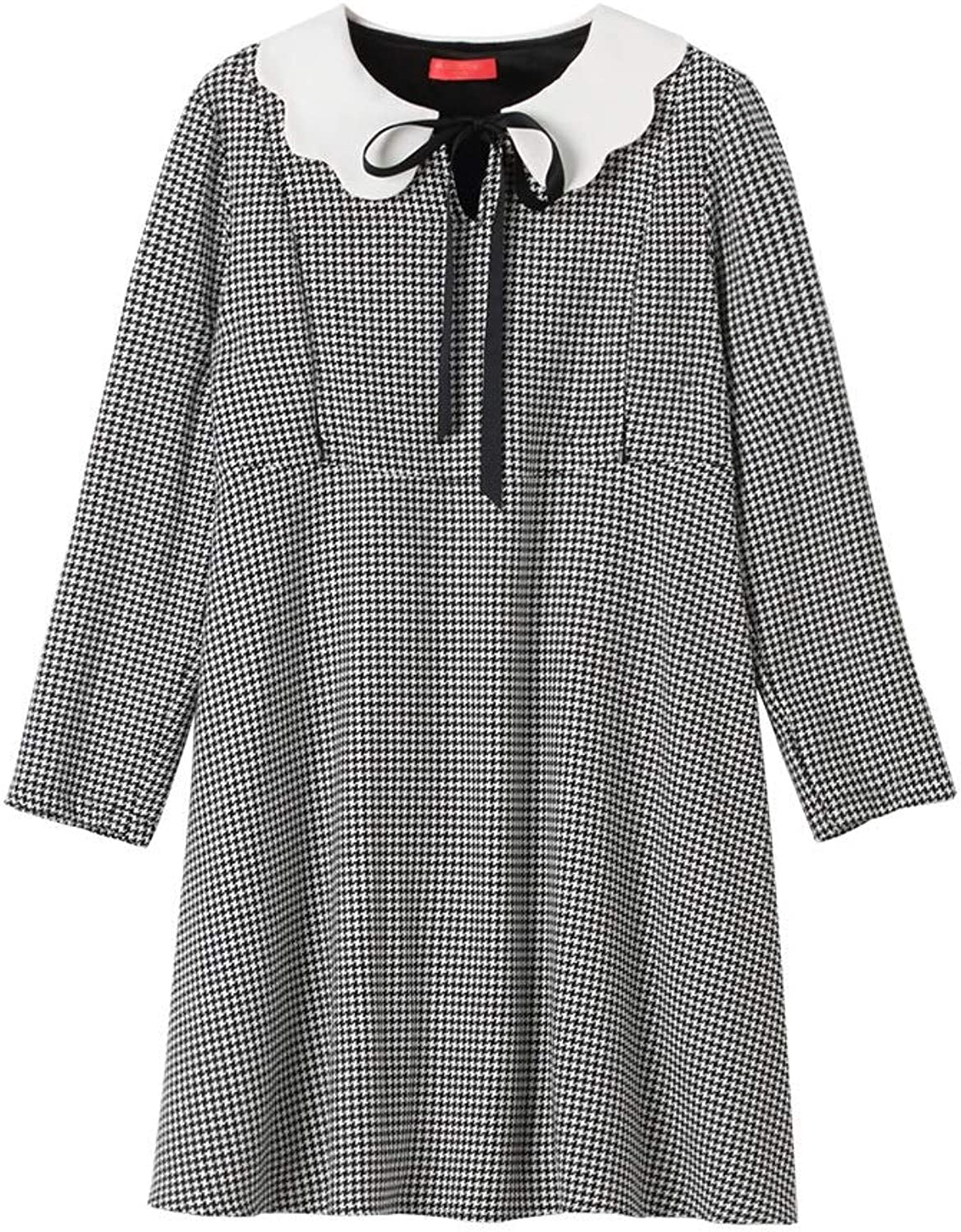 Maternity Clothes Four Seasons Skirt Classic Houndstooth Long Sleeves Dress Breastfeeding Clothes Pregnancy Clothes Soft and Snug Pregnant Women Gift (color   Natural, Size   XXL)