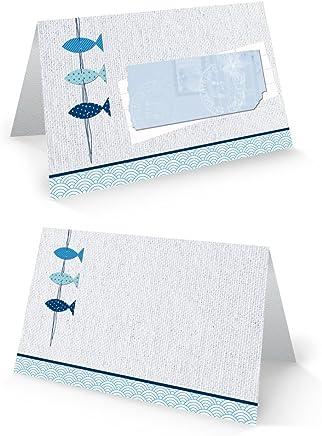 50 Stück kleine blau weiß türkis maritim 3 FISCHE Tischkarten Namens-Schilder Sitzkarten Platzkarten zur Taufe, Kommunion. Namensschilder Namenskärtchen - mit JEDEM Stift beschreibbar!