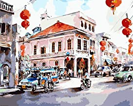 """DIY Painting""""Watercolor Bangkok""""Paint by Number Kits for Adults Child Handmade Oil Painting Home Decor Gift Creative Christmascrafts(No Frame)"""
