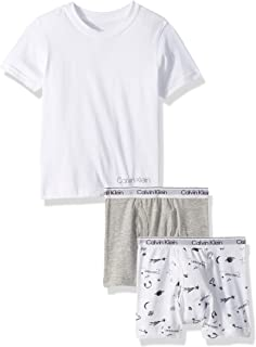 Calvin Klein Boys' Kids 3 Piece Tee and Boxer Brief Bundle