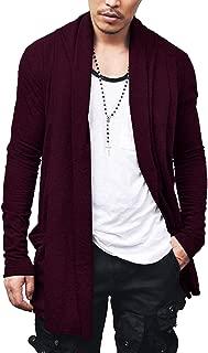 COOFANDY Men's Ruffle Shawl Collar Cardigan Premium Cotton Blend Long Length Drape Cape