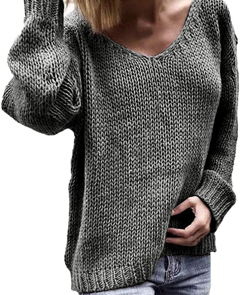 Xmiral Damen Pullover Häkeln V-Ausschnitt Langarm Pure Color Strick Tops Sweatshirt Grau