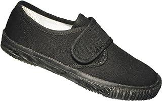 Mirak Boys Velcro Textile Plimsoll Sneaker Shoe Boxed Black (Small)