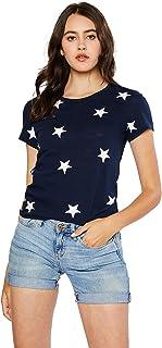 esstive Women's Ultra Soft Fleece Basic Casual Lightweight Star Printed T-Shirts