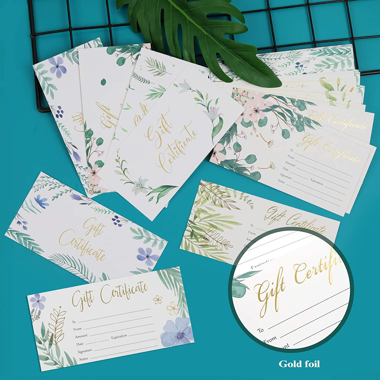 48 Pieces Gold Foil Blank Gift Certificates for Small Business Spa ...