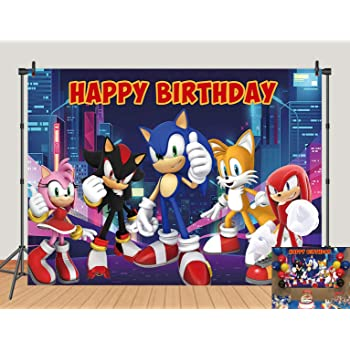 Amazon Com Night View Sonic The Hedgehog Backdrops Supercity Sonic Kids Birthday Banner Decor Photography Background Baby Shower Photo Studio Props Cake Table Supplies 5x3ft Camera Photo