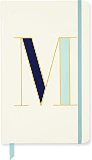 Kate Spade New York Take Note Large Leatherette Initial Notebook, Bound Journal Includes 168 Pages, M (Blue)