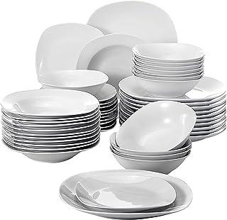 MALACASA Série Elisa, 48 Pcs Service de Table Porcelaine,Services Complets à Dinner, 12 Pcs * [Assiette Plat][Assiette Cre...