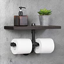 HAITRAL Toilet Paper Rack - Wall Mounted Tissue Roll Holder with Rustic Wooden Shelf and and Iron Pipe for Bathroom, Kitchen, Washroom, Black