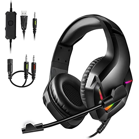 Gaming Headset with Microphone, 3D Stereo Surround Sound USB Gaming Headphones, PS4 Headset with Noise Canceling Mic, Over-Ear Headphones with RGB Light, Soft Earmuffs, for PS5, PC, Xbox One, Mac
