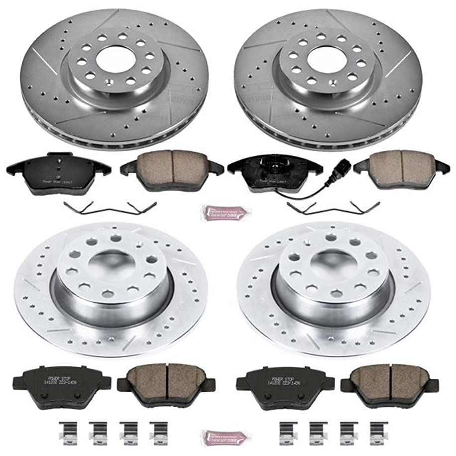 Power Stop K5801 Front and Rear Z23 Evolution Brake Kit with Drilled/Slotted Rotors and Ceramic Brake Pads