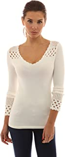 PattyBoutik Women's Crochet Eyelet Inset V Neck Knit Top