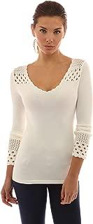 PattyBoutik Women's Crochet Eyelet Inset V Neck Knit Top