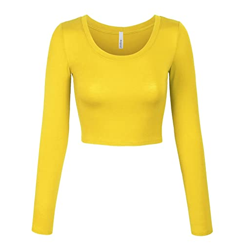 8e6bfe3e1b41b KOGMO Womens Long Sleeve Basic Crop Top Round Neck with Stretch