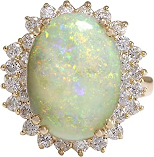 6.31 Carat Natural Multicolor Opal and Diamond (F-G Color, VS1-VS2 Clarity) 14K Yellow Gold Cocktail Ring for Women Exclusively Handcrafted in USA