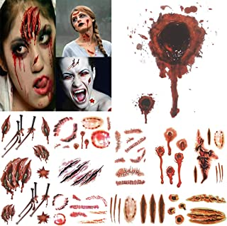 COKOHAPPY 10 Sheets Halloween Bleeding Wound Scar Blood for Party Cosplay Costume Look Real Flash Temporary Tattoo