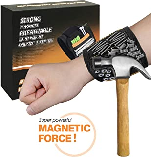Magnetic Wristband for Holding Screws,With 15 Super Strong Magnets,Nails,Drill Bits - Best Unique Tool Gift for Men,DIY Handyman,Father/Dad,Husband,Boyfriend