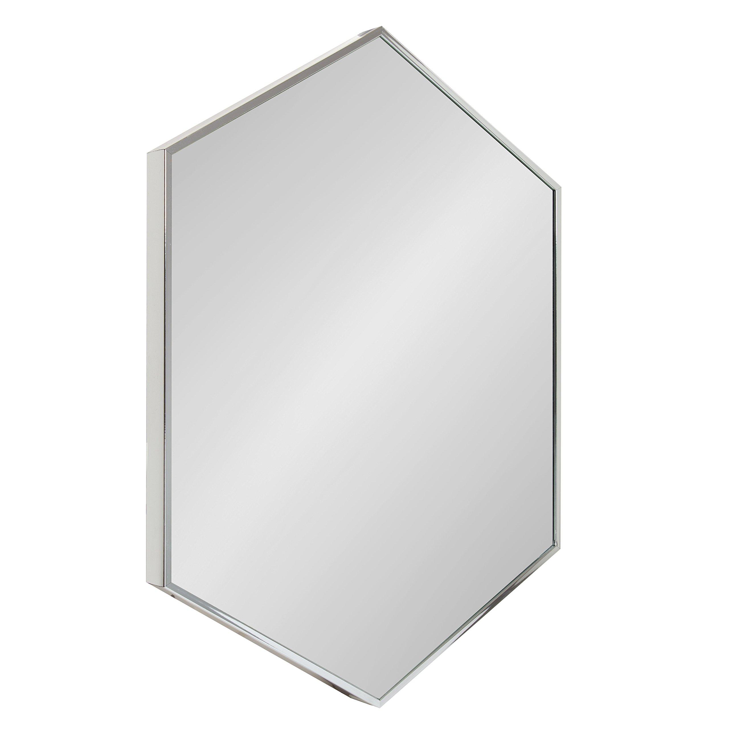 Amazon Com Kate And Laurel Rhodes Modern Hexagon Wall Mirror Silver Chrome 31x22 Inches Home Kitchen