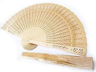 Creations Gothi - electrónica al por 10 unidades de sándalo ventiladores de mano de fiesta, para regalo de boda de madera regalo