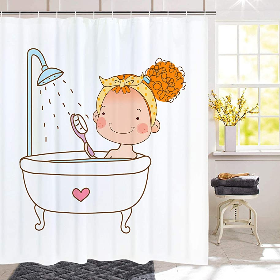 Girl Taking A Shower Shower Curtain Waterproof Bathroom Curtain Bathroom Decor Accessories with Hooks