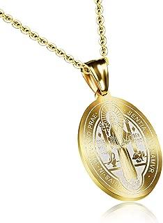 LBFEEL Stainless Steel Saint Benedict Medal Catholic Saint Medals Pendant Necklace for Men Women