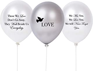 30 PC Biodegradable Remembrance Balloons: White & Silver Personalizable Funeral..