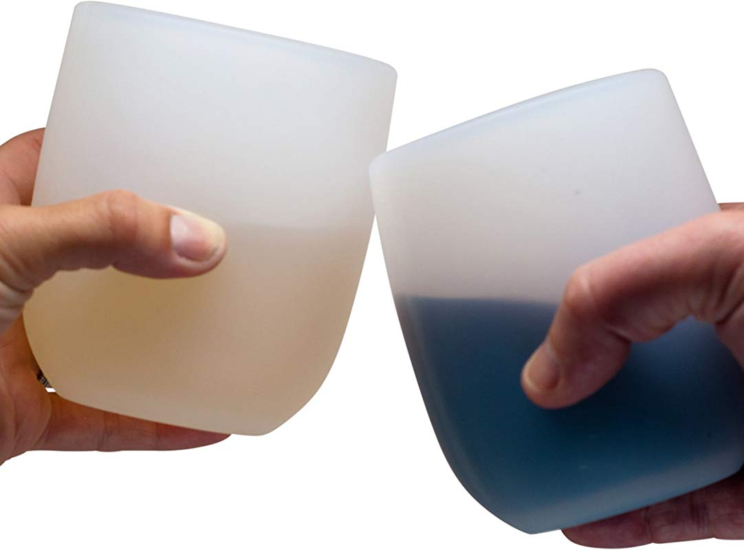 Jokel Large Silicone Wine Glasses Sturdier Unbreakable Stemless Rubber Squishy Cups 16oz Set Of 2