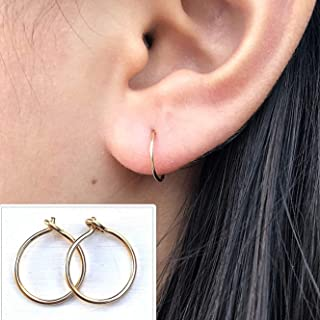 Small 10mm Gold Hoop Earrings for Women, 14K Yellow Gold Filled Handmade Tiny Thin Hoops 20 Gauge