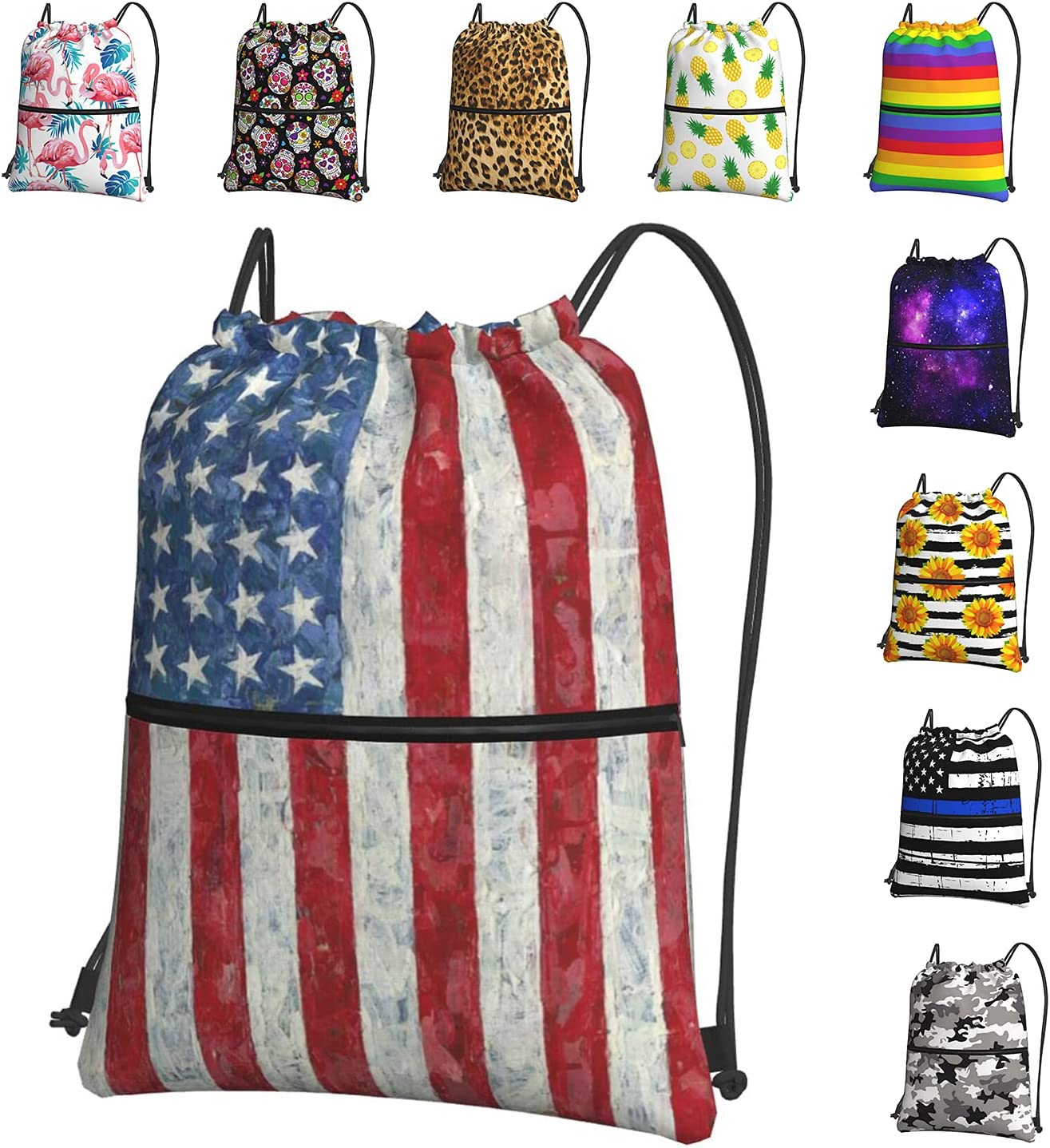 Vintage USA Flag Drawstring Backpack Gy for Men Women Spring new work Waterproof New sales