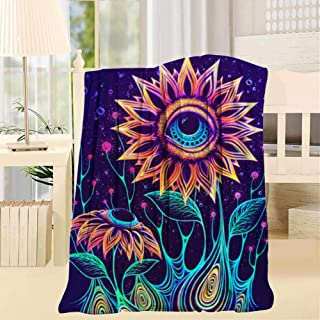 HSUIHAAcid Flowers Eye Trippy Fleece Blanket Throw Plush Throw Blanket Super Soft Fuzzy Blanket Microfiber for Bed Couch Sofa [{Size_Name}