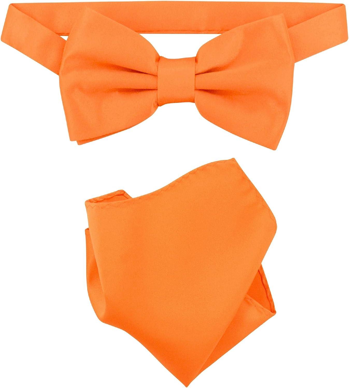 Vesuvio Napoli BowTie Solid Orange Color Mens Bow Tie & Handkerchief