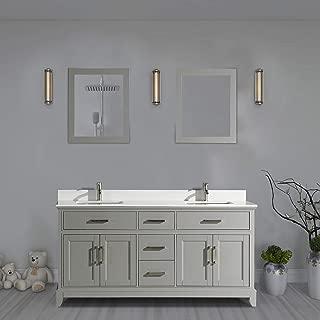 Vanity Art 72 Inch Double Sink Bathroom Vanity Set   Super White Phoenix Stone, Soft Closing Doors Undermount Rectangle Sinks with Two Free Mirror - VA1072-DG