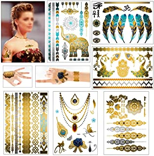 Metallic Temporary Tattoos,Tropical Shining Gold Colored,Grier Temporary Fake Jewelry Tattoos,Necklaces,Bracelets,Wrists,Armbands,Elephants,Feathers,Peacocks,Flowers & More