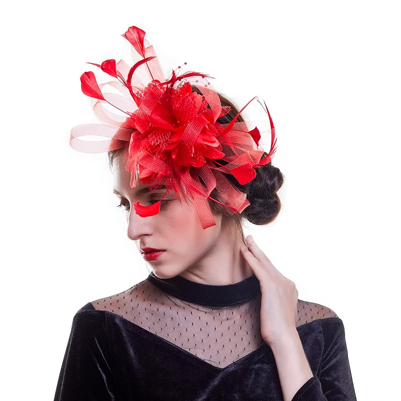 Women Elegant Fascinator Hat Hair Clips Flower Feather Mesh Yarn Cocktail Party Wedding Hair Accessories (C)