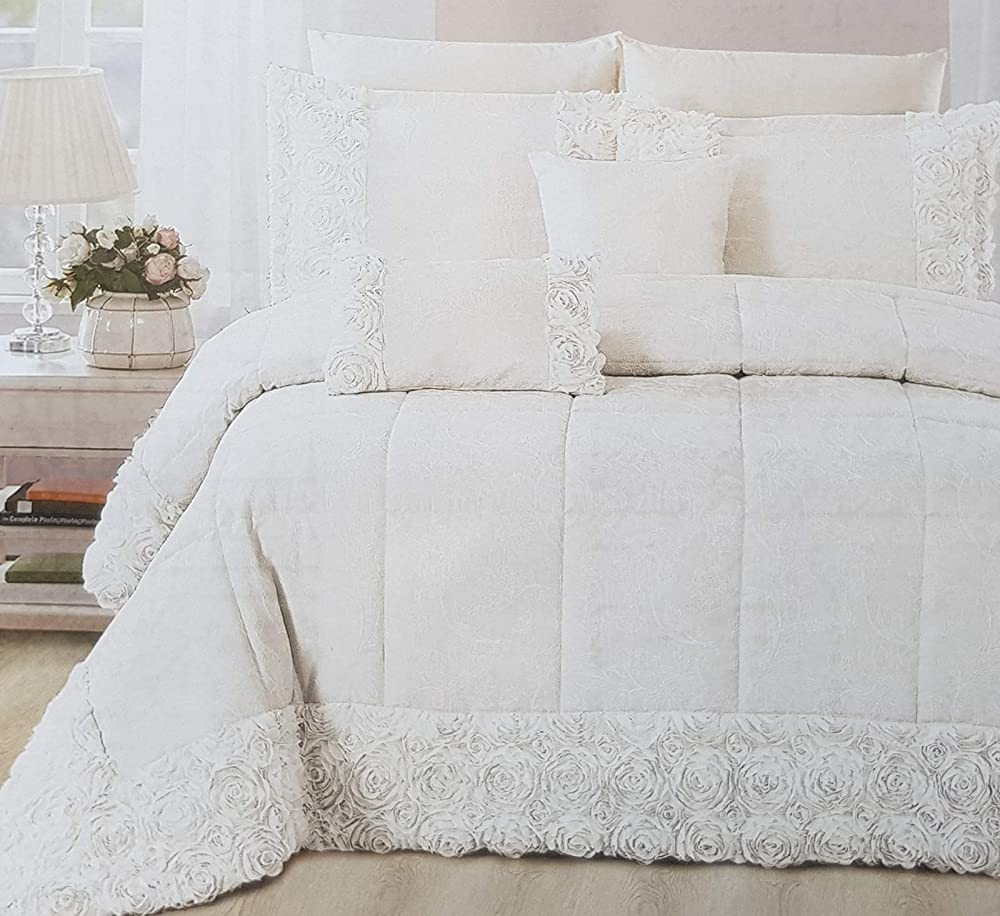 Gianfranco ferrari,copriletto trapuntato quilt + 2 fodere cuscini,matrimoniale, bordo di pizzo CHIC