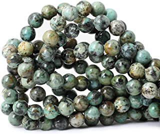 """Qiwan 35PCS 10mm Natural African Turquoise Stone Round Loose Beads for Jewelry Making DIY Bracelet Making Supplies 1 Strand 15"""""""