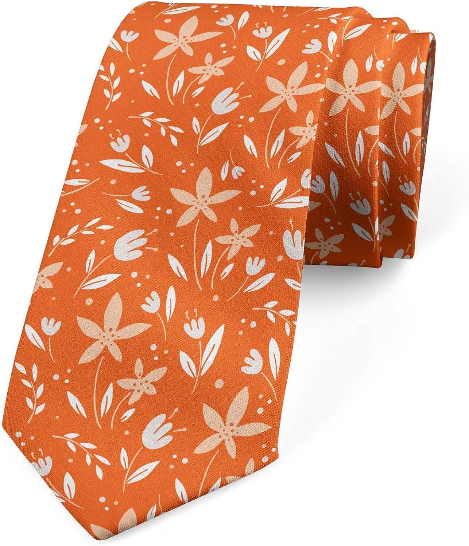 Ambesonne Men's Tie, Nature Elements and Dots, Necktie, 3.7
