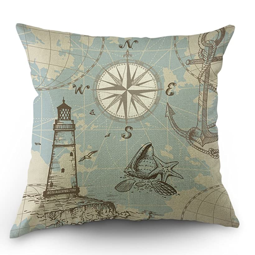Moslion Compass Pillow Cover Nautical Map Anchor Ocean Starfish Sea Cotton Linen Decorative Throw Pillow Case 18 x 18 Inch Square Cushion Cover for Happy New Year Sofa Bedroom Blue Beige