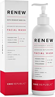 Anti Aging Face Wash with Rosehip Oil | Organic All Natural Skin Brightening Facial Cleanser with Vitamin C, Reishi, MSM | Hypoallergenic Natural Foam Cleanser Tones, Moisturizes, Unclogs Pores …