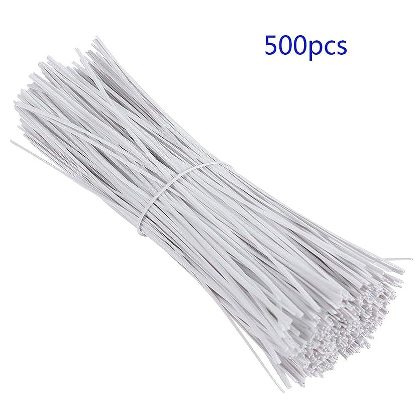 適度に所得織機OBOSOE ケーブルコードワイヤーネクタイケーブルラップオーガナイザーネクタイプラスチックツイスト被覆鉄ワイヤーネクタイホワイトツイスト500個